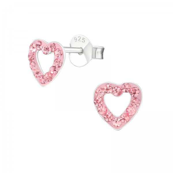 Children's Sterling Silver 'Pink Crystal Love Heart' Stud Earrings