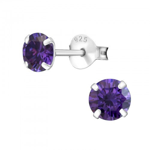 Children's Sterling Silver 'February Birthstone'  Stud Earrings