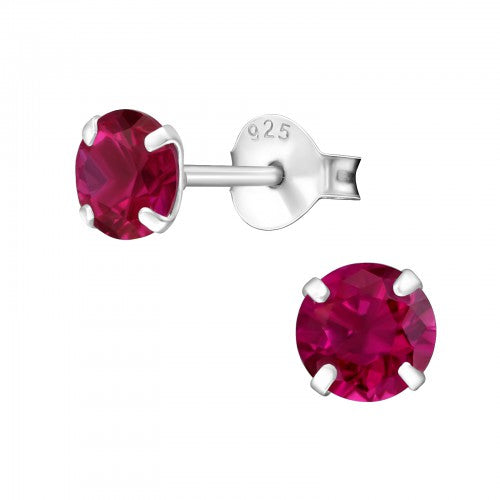 Children's Sterling Silver 'July Birthstone'  Stud Earrings