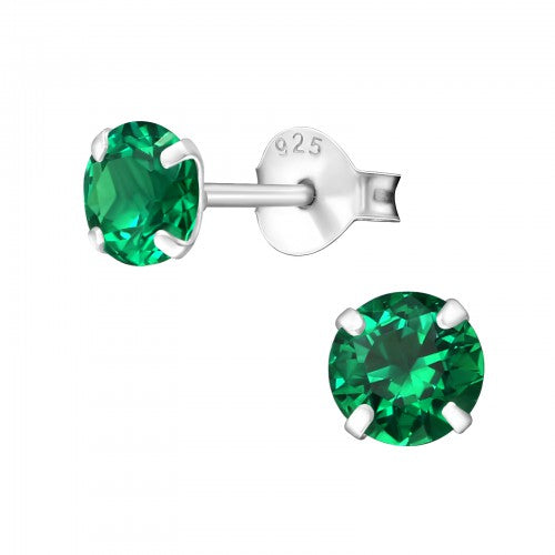 Children's Sterling Silver 'May Birthstone'  Stud Earrings