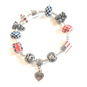 Adult's 'Royal Wedding 2018 Commemorative Keepsake' Silver Plated Charm Bead Bracelet