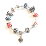 Children's 'Royal Wedding 2018 Commemorative Keepsake' Silver Plated Charm Bead Bracelet