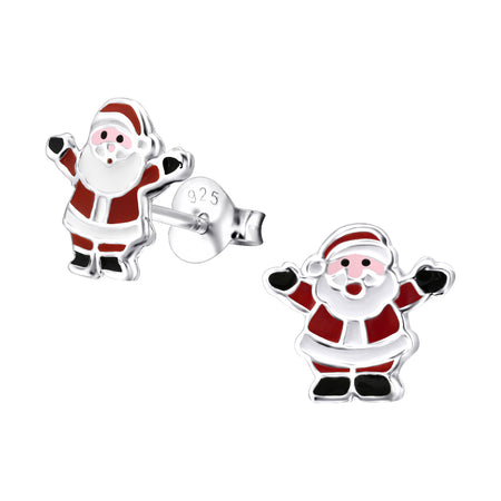Children's Sterling Silver Christmas Santa Face Stud Earrings