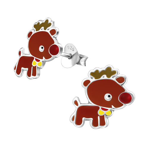 Children's Sterling Silver Santa's Reindeer Christmas Stud Earrings