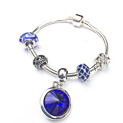 Adult's 'September Birthstone' Sapphire Coloured Crystal Silver Plated Charm Bead Bracelet