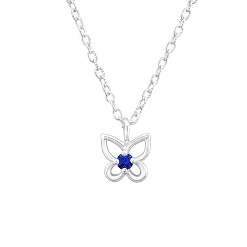 September Birthstone Blue Sapphire Sterling Silver Butterfly Necklace