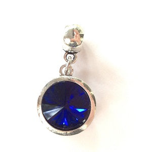Adult's September Birthstone Sapphire Coloured Crystal Drop Charm