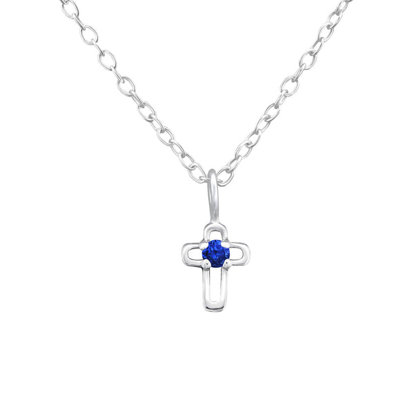 September Birthstone Blue Sapphire Cross  Sterling Silver Necklace