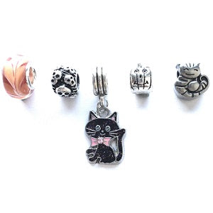Set of 5 Silver Plated Halloween Themed Charms and Beads
