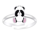 Children's Sterling Silver Adjustable Shy Panda Ring