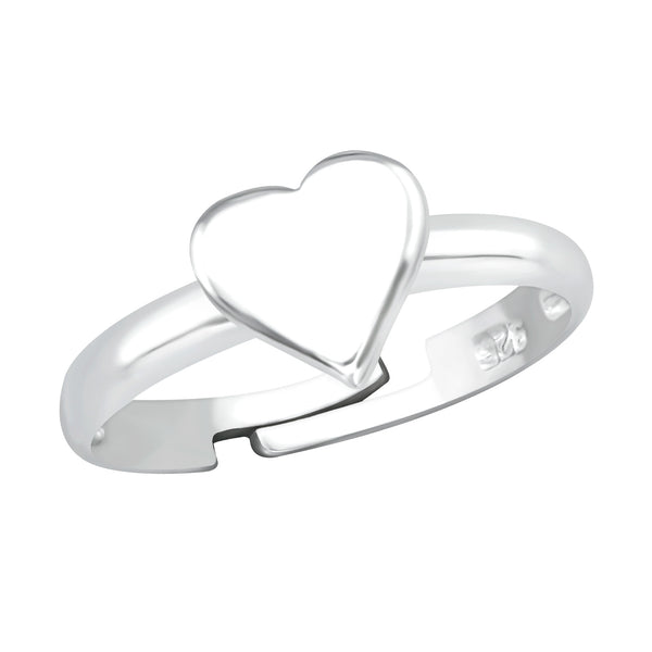 Children's Sterling Silver Adjustable Heart Ring