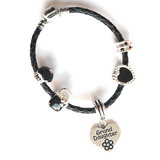 Children's Granddaughter 'Simply Black' Silver Plated Black Leather Charm Bead Bracelet