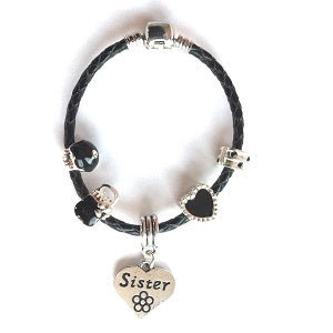 black leather sister bracelet with charms and beads