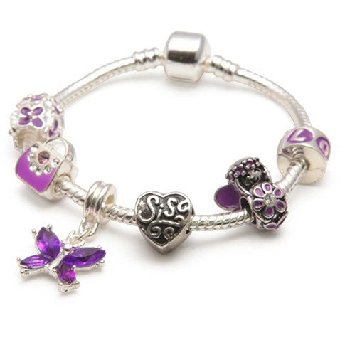 purple fairy sister bracelet with sis charms and beads
