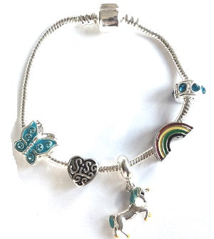 unicorn sister bracelet with charms and beads