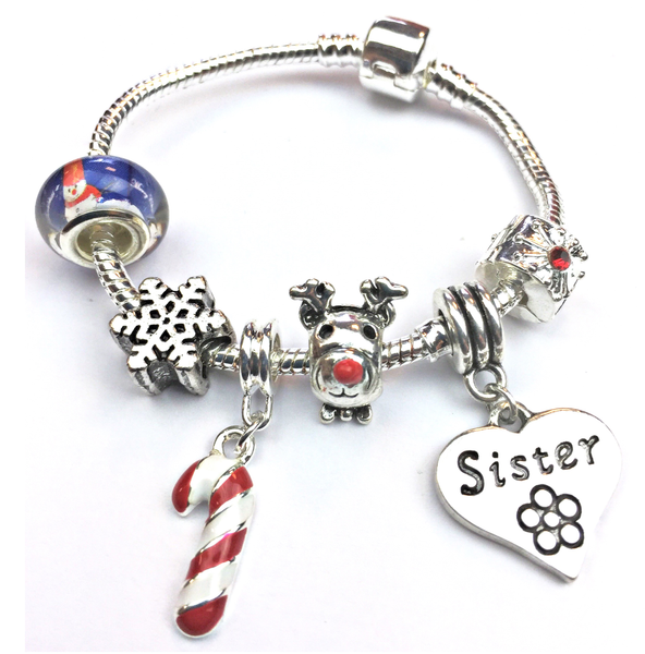 Children's Sister 'Christmas Wishes' Silver Plated Charm Bracelet