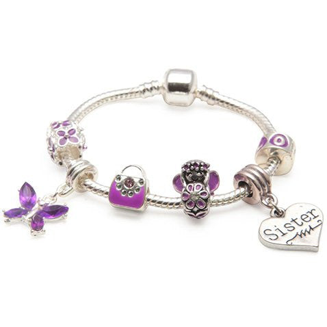 Children's Sister 'Purple Fairy Dream' Silver Plated Charm Bead Bracelet