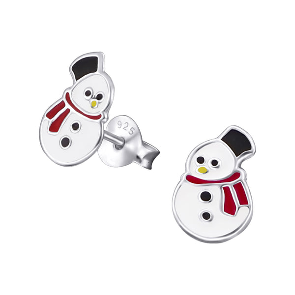 Children's Sterling Silver Christmas Snowman with Red Scarf Stud Earrings