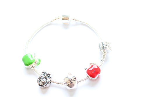 Adult's Teacher 'Apple for the Teacher' Silver Plated Charm Bead Bracelet