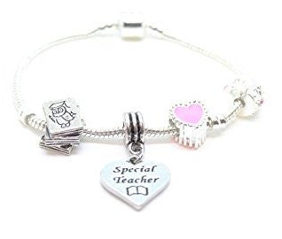 Adult's Special Teacher Bracelet 'Wise Owl' Silver Plated Charm Bead Bracelet