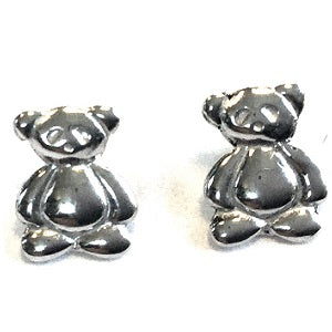 Children's Sterling Silver Teddy Bear Stud Earrings