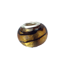 Glass 'Tiger's Eye' Bead With Silver Plated Core