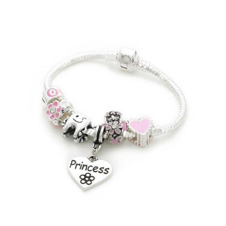 Children's Princess 'Pink Fairy Dream' Silver Plated Charm Bead Bracelet