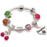 Children's Daughter 'Tutti Frutti' Silver Plated Charm Bead Bracelet