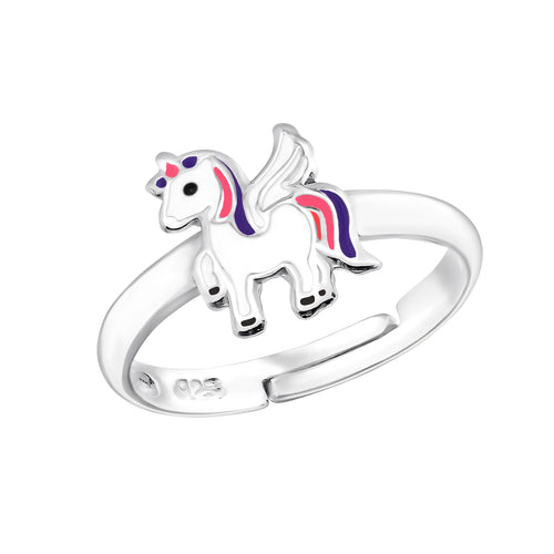 Children's Sterling Silver Adjustable White Unicorn Ring