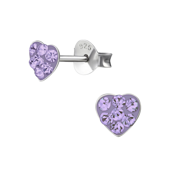 Children's Sterling Silver 'Violet Crystal Heart' Stud Earrings