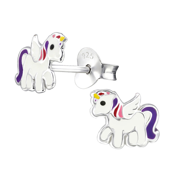Children's Sterling Silver White Unicorn Stud Earrings