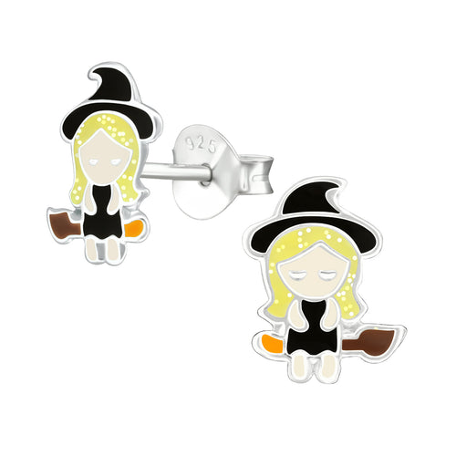 Sterling Silver Halloween witch earrings / studs