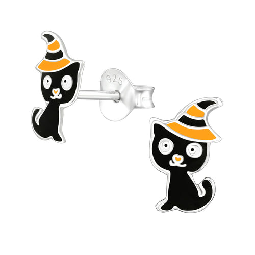 Sterling silver Halloween Cat earrings studs