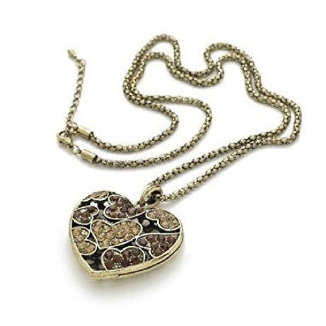 Gold Tone 'Dream Heart' Crystal Pendant Necklace