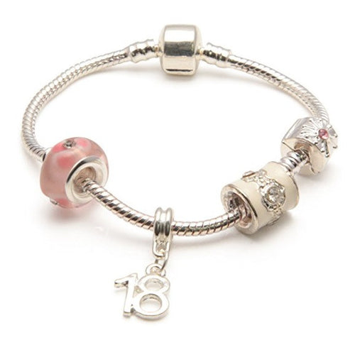 Silver Pink Bracelet 18th Birthday Gifts Girl And Charm For 18 Year Old