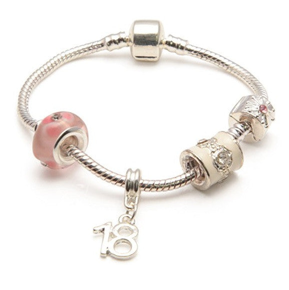 silver pink bracelet, 18th birthday gifts girl and charm bracelet gifts for 18 year old girl