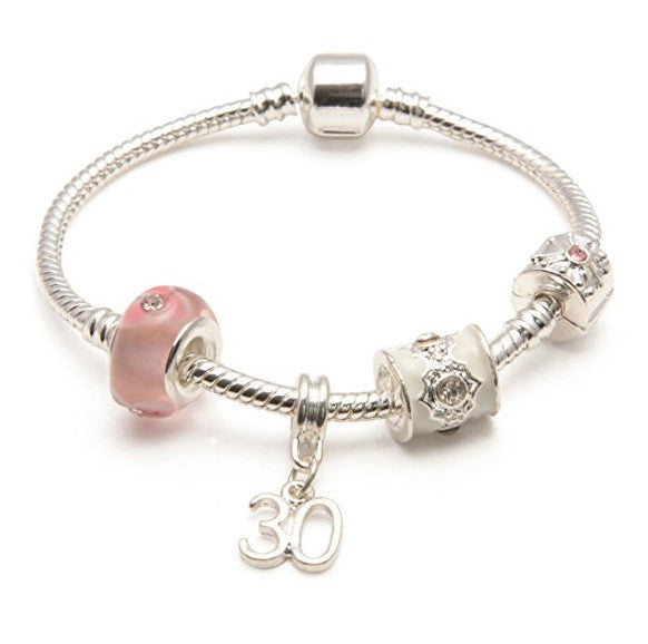pink bracelet, 30th birthday gifts girl and charm bracelet gifts for 30 year old girl
