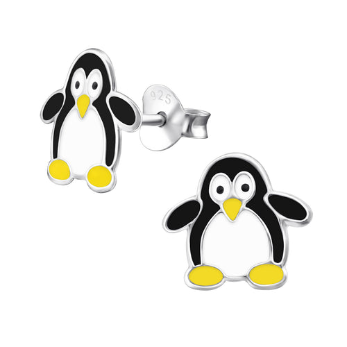Children's Sterling Silver Penguin Stud Earrings