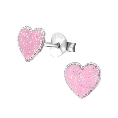 Children's Sterling Silver Pink Glitter Heart Stud Earrings