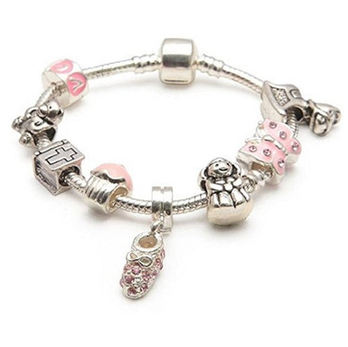 Baby Girl's Christening Keepsake 'Little Angel' Silver Plated Charm Bead Bracelet