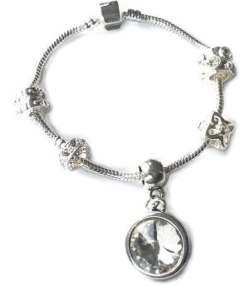 Adult's 'April Birthstone' Diamond Coloured Crystal Silver Plated Charm Bead Bracelet