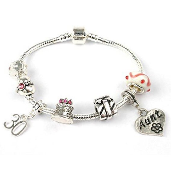 Aunt Age 30 'Birthday Wishes' Silver Plated Charm Bead Bracelet