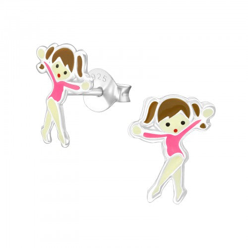 Children's Sterling Silver Ballet Dancer Stud Earrings