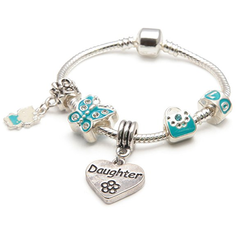 Children's Daughter 'Blue Butterfly' Silver Plated Charm Bead Bracelet