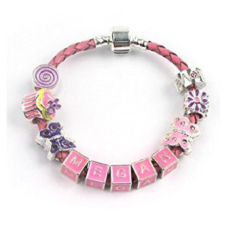 Children's Personalised Name 'Birthday Girl' Pink Leather Charm Bead Bracelet