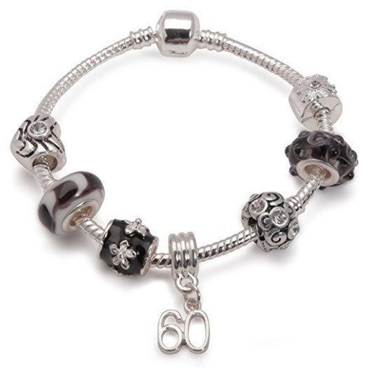 Age 60 'Black Magic' Silver Plated Charm Bead Bracelet
