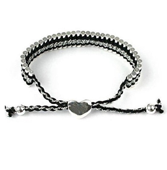 Silver Plated Black Braided Adjustable Friendship Bracelet