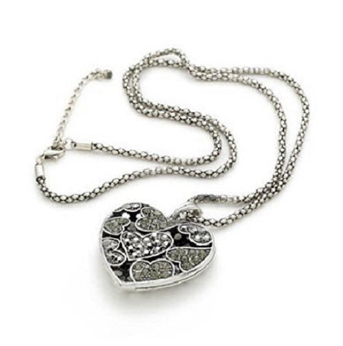 Silver Tone 'Dream Heart' Crystal Pendant