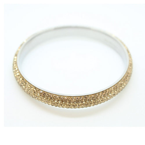 Stainless Steel & Czech 'Gold Sparkle' Gold and Silver Bangle/Bracelet