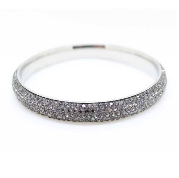 Stainless Steel & Czech 'Midnight Sparkle' Midnight Grey and Silver Bangle/Bracelet